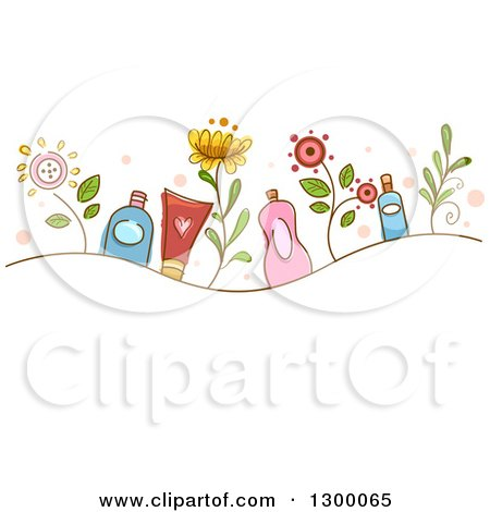 Clipart of a Sketched Wave of Flowers and Organic Cosmetic Products - Royalty Free Vector Illustration by BNP Design Studio