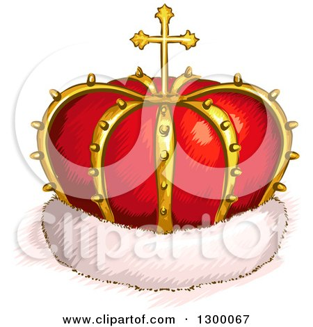 Clipart of a Sketched Red and Gold Crown with a Cross and Fur - Royalty Free Vector Illustration by BNP Design Studio