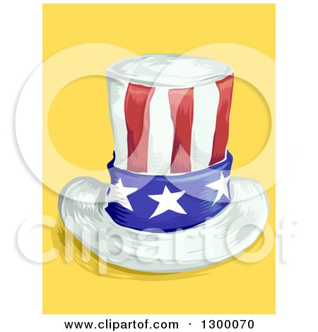 Clipart of a Sketched American Top Hat on Yellow - Royalty Free Vector Illustration by BNP Design Studio