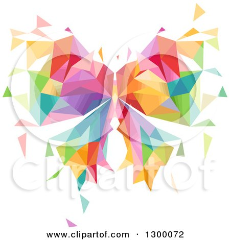 Clipart of a Colorful Geometric Butterfly - Royalty Free Vector Illustration by BNP Design Studio