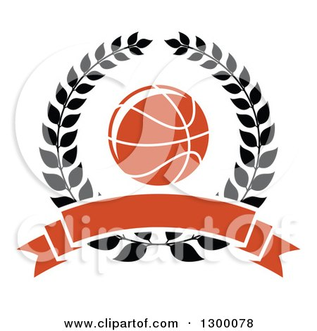 Clipart of an Orange Basketball in a Black Wreath with a Blank Banner - Royalty Free Vector Illustration by Vector Tradition SM