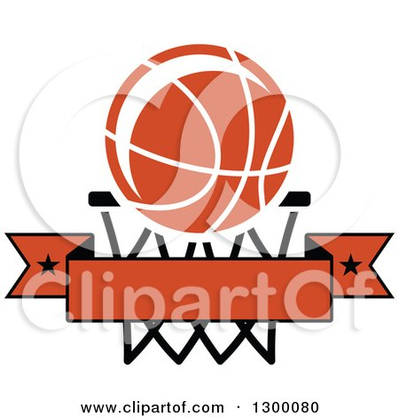 Clipart of an Orange Basketball over a Hoop and Blank Banner - Royalty Free Vector Illustration by Vector Tradition SM