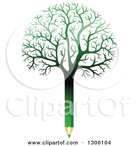 Clipart of a Bare Gradient Green Pencil Tree - Royalty Free Vector Illustration by Vector Tradition SM