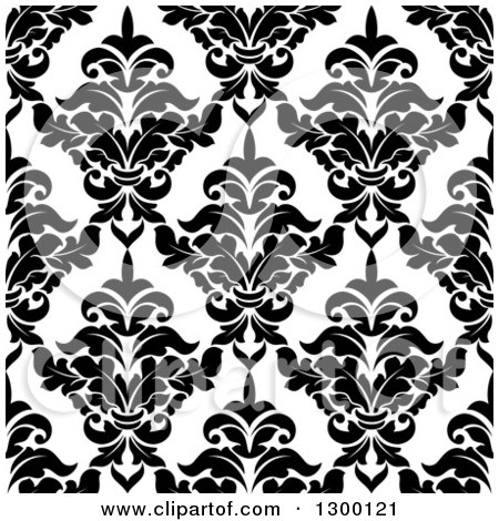 Clipart of a Seamless Pattern Background of Damask in Black on White 5 - Royalty Free Vector Illustration by Vector Tradition SM