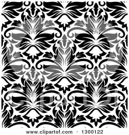 Clipart of a Seamless Pattern Background of Damask in Black on White 6 - Royalty Free Vector Illustration by Vector Tradition SM
