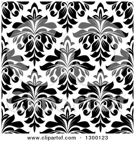 Clipart of a Seamless Pattern Background of Damask in Black on White 3 - Royalty Free Vector Illustration by Vector Tradition SM