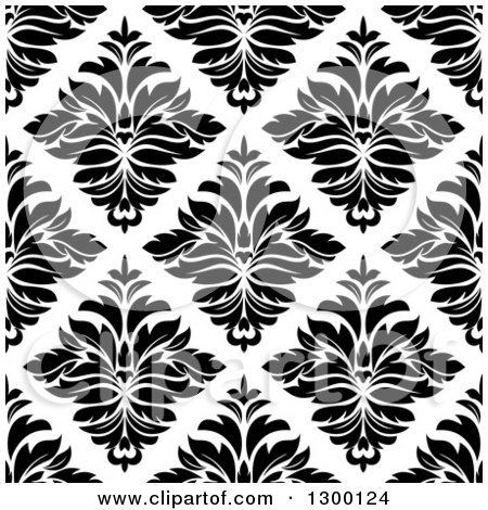 Clipart of a Seamless Pattern Background of Damask in Black on White 4 - Royalty Free Vector Illustration by Vector Tradition SM