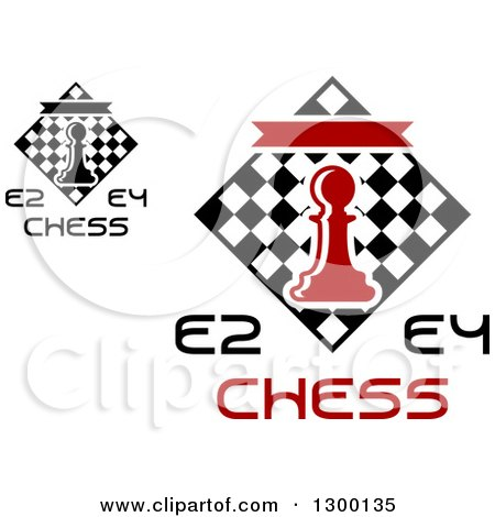 Clipart of E2 and E4 Chess Tournament Designs with a Pawn over Checkers - Royalty Free Vector Illustration by Vector Tradition SM