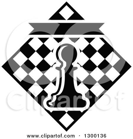 Clipart of Black and White Chess Tournament Design with a Pawn over Checkers - Royalty Free Vector Illustration by Vector Tradition SM