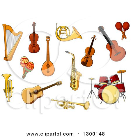 Clipart of a Harp, Guitar, Violin, Drums, Trumpet, Sax, Maracas, Trombone and French Horn - Royalty Free Vector Illustration by Vector Tradition SM
