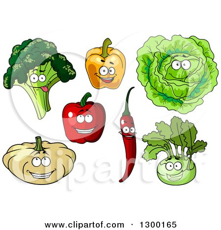 Clipart of Happy Broccoli, Bell Pepper, Cabbage, Chili, Pumpkin and Kohlrabi Characters - Royalty Free Vector Illustration by Vector Tradition SM