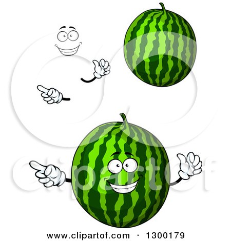 Clipart of a Face, Hands and Watermelons - Royalty Free Vector Illustration by Vector Tradition SM