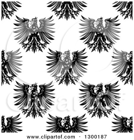 Clipart of a Seamless Patterned Background of Black Eagles on White 2 - Royalty Free Vector Illustration by Vector Tradition SM