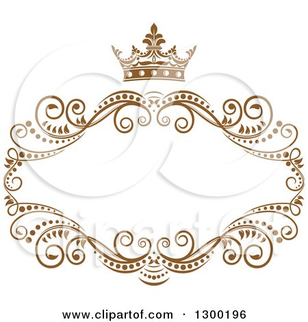 Clipart of a Vintage Brown Swirl Floral Wedding Frame with a Crown - Royalty Free Vector Illustration by Vector Tradition SM
