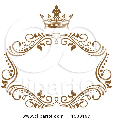 Clipart of a Vintage Brown Swirl Floral Wedding Frame with a Crown 2 - Royalty Free Vector Illustration by Vector Tradition SM