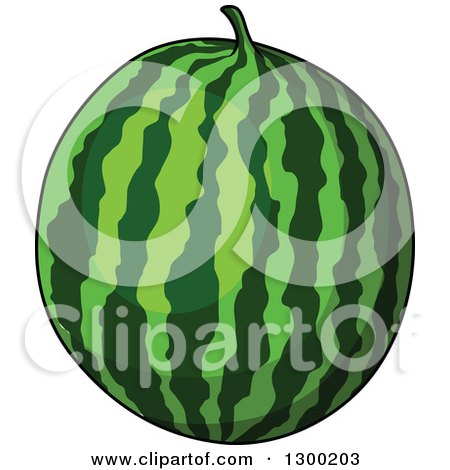 Clipart of a Shiny Watermelon - Royalty Free Vector Illustration by Vector Tradition SM