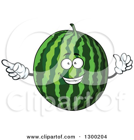 Clipart of a Watermelon Character Pointing - Royalty Free Vector Illustration by Vector Tradition SM