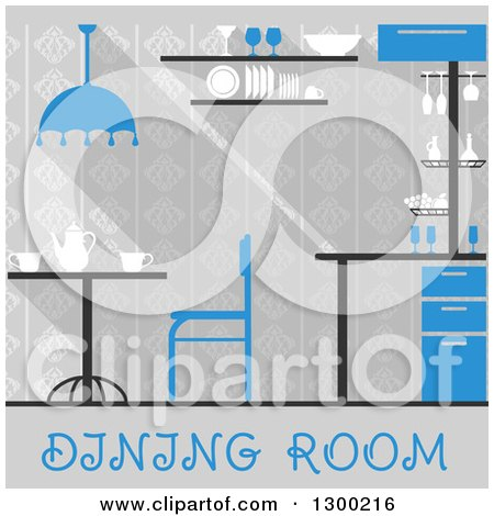 Clipart of a Blue and Gray Dining Room Interior with Text - Royalty Free Vector Illustration by Vector Tradition SM
