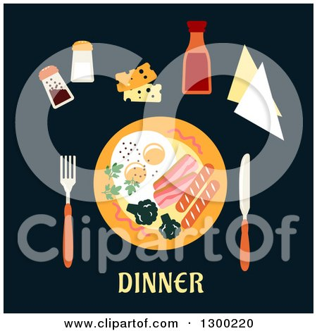 Clipart of a Plate and Food over Dinner Text on Black - Royalty Free Vector Illustration by Vector Tradition SM