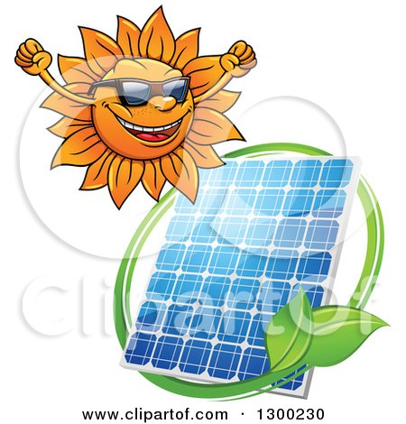 Clipart of a Happy Sun and Solar Panel Encircled with a Swoosh and Green Leaves - Royalty Free Vector Illustration by Vector Tradition SM