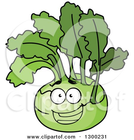 Clipart of a Happy Kohlrabi Character - Royalty Free Vector Illustration by Vector Tradition SM