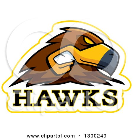 Clipart of a Tough Hawk Bird Mascot Head with Text - Royalty Free Vector Illustration by Cory Thoman