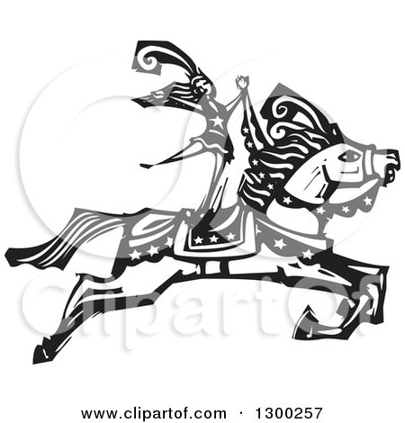 Clipart of a Black and White Woodcut Woman Standing on a Leaping Horse in a Circus Act - Royalty Free Vector Illustration by xunantunich