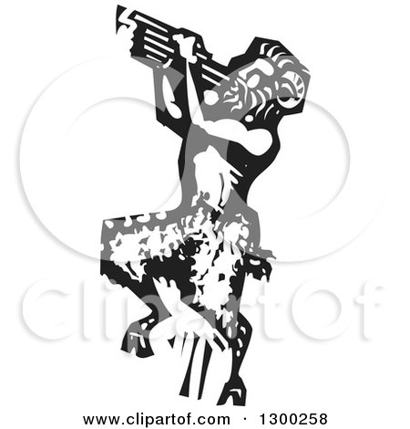 Clipart of a Black and White Woodcut Fantasy Faun Pan Playing Pipes - Royalty Free Vector Illustration by xunantunich
