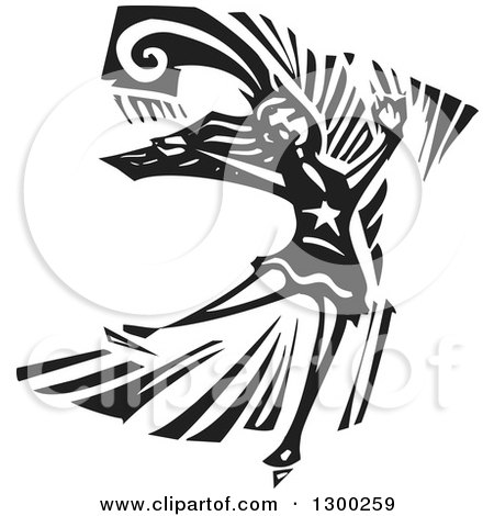 Clipart of a Black and White Woodcut Female Figure Skater in Action - Royalty Free Vector Illustration by xunantunich