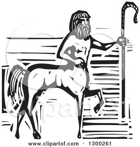 Clipart of a Black and White Woodcut Fantasy Greek Centaur Horse Man with a Cane - Royalty Free Vector Illustration by xunantunich