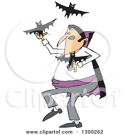 Clipart of a Cartoon Vampire Juggling Bats - Royalty Free Vector Illustration by djart
