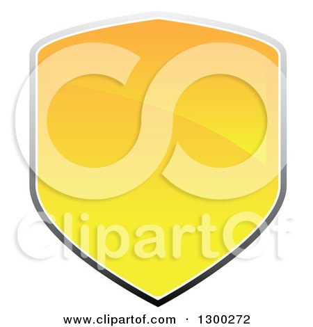 Clipart of a 3d Shiny Yellow and Gray Shield Design - Royalty Free Vector Illustration by Arena Creative