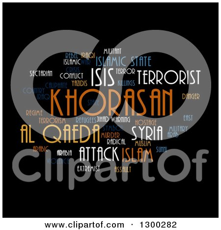 Clipart of an ISIS and Al Qaeda Word Collage on Black - Royalty Free Illustration by oboy