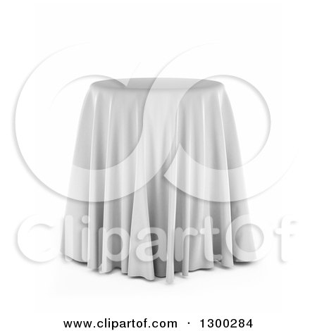 Clipart of a 3d Round Presentation Pedestal Table Draped with a White Silk Cloth, over White - Royalty Free Illustration by stockillustrations