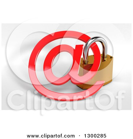 Clipart of a 3d Secured Padlock and a Red Email Arobase at Symbol over Shaded White - Royalty Free Illustration by stockillustrations