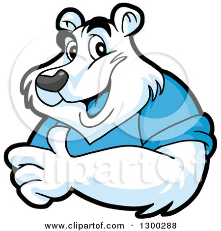 Clipart of a Cartoon Polar Bear Mascot Giving a Thumb up - Royalty Free Vector Illustration by LaffToon