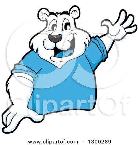 Clipart of a Cartoon Polar Bear Mascot Presenting - Royalty Free Vector Illustration by LaffToon