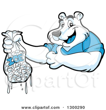 Clipart of a Cartoon Polar Bear Mascot Holding a Thumb up and Bag of Ice - Royalty Free Vector Illustration by LaffToon