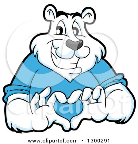 Clipart of a Cartoon Polar Bear Mascot Forming a Love Heart with His Hands - Royalty Free Vector Illustration by LaffToon