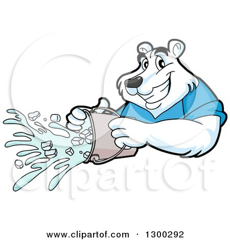 Clipart of a Cartoon Polar Bear Mascot Pouring an Ice Bucket - Royalty Free Vector Illustration by LaffToon