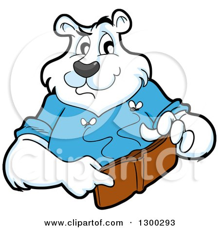 Clipart of a Cartoon Polar Bear Mascot Holding an Empty Wallet with Moths - Royalty Free Vector Illustration by LaffToon