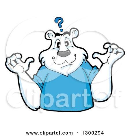 Clipart of a Cartoon Polar Bear Mascot Shrugging Under a Question Mark - Royalty Free Vector Illustration by LaffToon