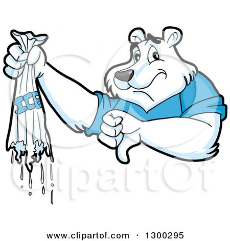 Clipart of a Cartoon Polar Bear Mascot Holding a Broken Bag of Ice and Thumb down - Royalty Free Vector Illustration by LaffToon