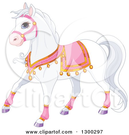 Clipart of a Cute White Princess Royal Horse in Pink Gear - Royalty Free Vector Illustration by Pushkin
