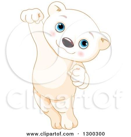 Clipart of a Cute Baby Polar Bear Cub Jumping - Royalty Free Vector Illustration by Pushkin