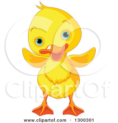 Clipart of a Cute Yellow Duck with Blue Eyes - Royalty Free Vector Illustration by Pushkin