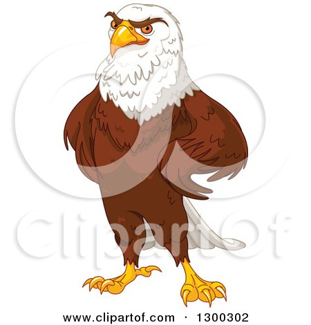 Clipart of a Handsome Bald Eagle Standing with Hands on His Hips - Royalty Free Vector Illustration by Pushkin