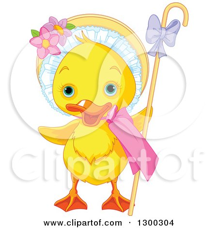 Clipart of a Cute Yellow Easter Duck with a Bonnet and Cane - Royalty Free Vector Illustration by Pushkin