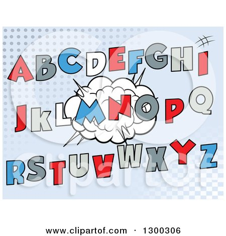 Clipart of Cartoon Comic Design Capital Alphabet Letters over a Burst on Halftone - Royalty Free Vector Illustration by Pushkin