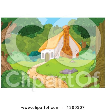 Clipart of a Cute Cottage Cabin in the Woods - Royalty Free Vector Illustration by Pushkin